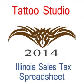 Illinois Tattoo Studio Accounts & Sales Tax Spreadsheet for 2014 year end