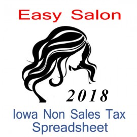 Iowa Non-Sales Tax Hairdresser Bookkeeping Spreadsheets for 2018 year end