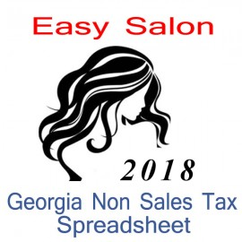 Georgia Non-Sales Tax Hairdresser Bookkeeping Spreadsheets for 2018 year end