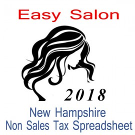 New Hampshire Non-Sales Tax Hairdresser Bookkeeping Spreadsheets for 2018 year end