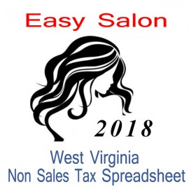 West Virginia Non-Sales Tax Hairdresser Bookkeeping Spreadsheets for 2018 year end