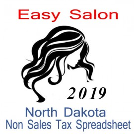 North Dakota Non-Sales Tax Hairdresser Bookkeeping Spreadsheets for 2019 year end