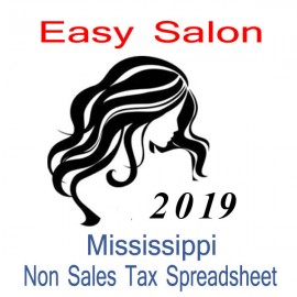Mississippi Non-Sales Tax Hairdresser Bookkeeping Spreadsheets for 2019 year end