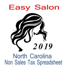 North Carolina Non-Sales Tax Hairdresser Bookkeeping Spreadsheets for 2019 year end