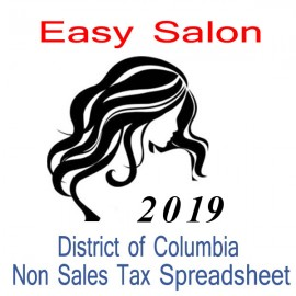 District of Columbia Non-Sales Tax Hairdresser Bookkeeping Spreadsheets for 2019 year end