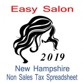 New Hampshire Non-Sales Tax Hairdresser Bookkeeping Spreadsheets for 2019 year end