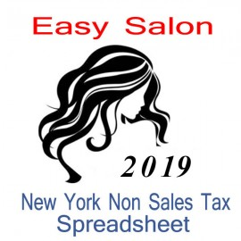 New York Non-Sales Tax Hairdresser Bookkeeping Spreadsheets for 2019 year end