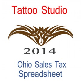 Ohio Tattoo Studio Accounts & Sales Tax Spreadsheet for 2014 year end