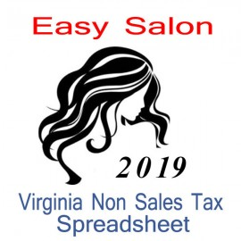 Virginia Non-Sales Tax Hairdresser Bookkeeping Spreadsheets for 2019 year end