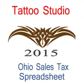 Ohio Tattoo Studio Accounts & Sales Tax Spreadsheet for 2015 year end