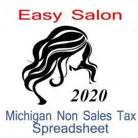 Michigan Non-Sales Tax Hairdresser Bookkeeping Spreadsheets for 2020 year end
