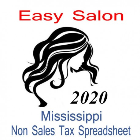 Mississippi Non-Sales Tax Hairdresser Bookkeeping Spreadsheets for 2020 year end