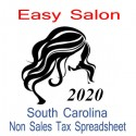 South Carolina Non-Sales Tax Hairdresser Bookkeeping Spreadsheets for 2020 year end