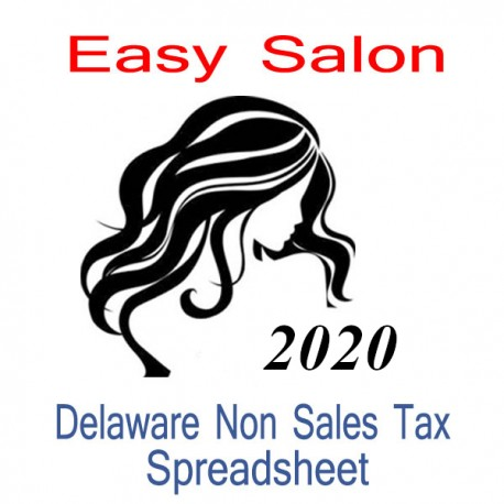 Delaware Non-Sales Tax Hairdresser Bookkeeping Spreadsheets for 2020 year end