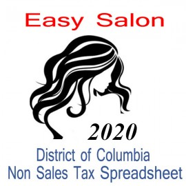 District of Columbia Non-Sales Tax Hairdresser Bookkeeping Spreadsheets for 2020 year end