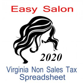 Virginia Non-Sales Tax Hairdresser Bookkeeping Spreadsheets for 2020 year end