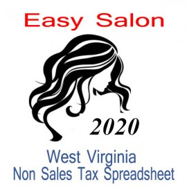 West Virginia Non-Sales Tax Hairdresser Bookkeeping Spreadsheets for 2020 year end