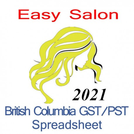 British Columbia salon bookkeeping GST/PST spreadsheet for 2021 year end