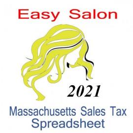 Massachusetts Salon Accounts & Sales Tax Spreadsheet for 2021 year end
