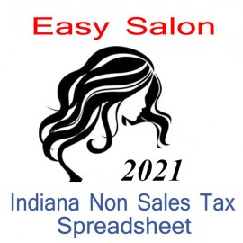Indiana Non-Sales Tax Hairdresser Bookkeeping Spreadsheets for 2021 year end