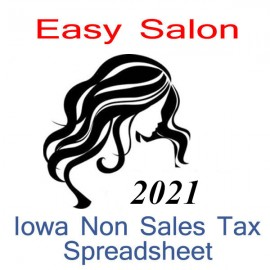 Iowa Non-Sales Tax Hairdresser Bookkeeping Spreadsheets for 2021 year end