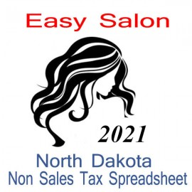 North Dakota Non-Sales Tax Hairdresser Bookkeeping Spreadsheets for 2021 year end
