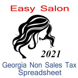 Georgia Non-Sales Tax Hairdresser Bookkeeping Spreadsheets for 2021 year end