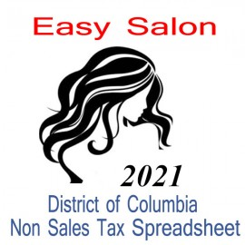 District of Columbia Non-Sales Tax Hairdresser Bookkeeping Spreadsheets for 2021 year end