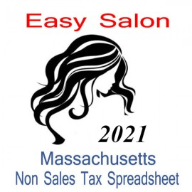 Massachusetts Non-Sales Tax Hairdresser Bookkeeping Spreadsheets for 2021 year end