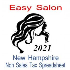 New Hampshire Non-Sales Tax Hairdresser Bookkeeping Spreadsheets for 2021 year end