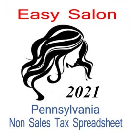 Pennsylvania Non-Sales Tax Hairdresser Bookkeeping Spreadsheets for 2021 year end