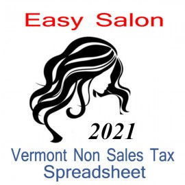 Vermont Non-Sales Tax Hairdresser Bookkeeping Spreadsheets for 2021 year end
