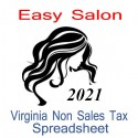 Virginia Non-Sales Tax Hairdresser Bookkeeping Spreadsheets for 2021 year end