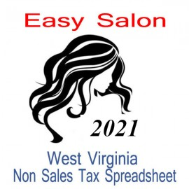 West Virginia Non-Sales Tax Hairdresser Bookkeeping Spreadsheets for 2021 year end