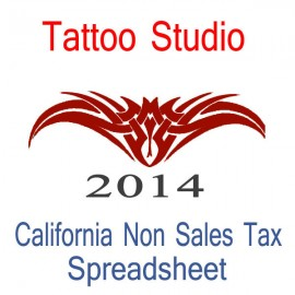 California Non-Sales Tax Tattoo Artist Bookkeeping Spreadsheets for 2014 year end