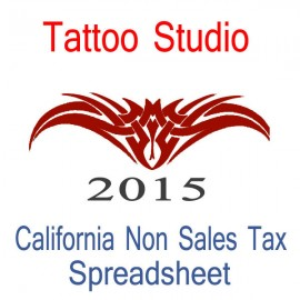 California Non-Sales Tax Tattoo Artist Bookkeeping Spreadsheets for 2015 year end