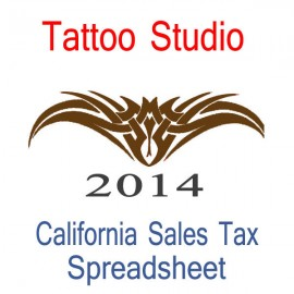 California Tattoo Studio Accounts & Sales Tax Spreadsheet for 2014 year end